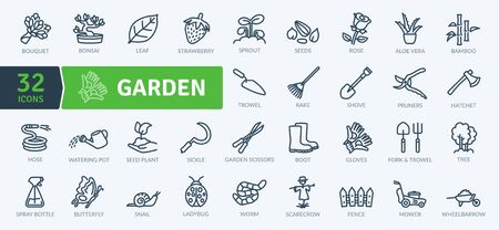 Garden Icons Pack. Thin line icons set. Flaticon collection set. Simple vector icons Vettoriali