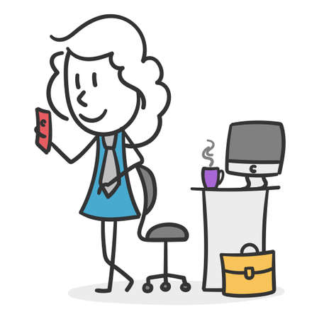 Business stick girl taking a coffee break. Concept of girl working in an office taking a well-deserved break