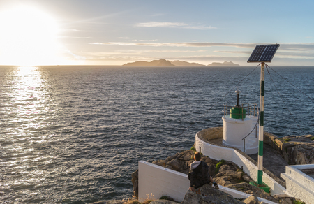 Sunset at Monteferro lighthouse, beautiful view to Cies island.