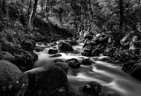 Long exposure shot at RiÃo Pedras, in Pobra do Caramià ± al (Galicia), with tripod and ND filter. This is my second processed of this photo. This time I tried black and white because I love the contrast between dark and light. Banco de Imagens - 88287808