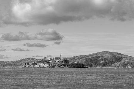 Alcatraz island in black and white Stock Photo