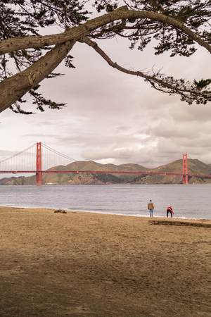 Family at the Golden Gate, from Crissy Field