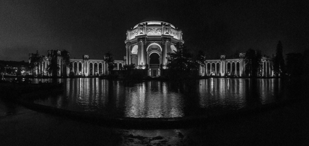Palace of Fine Arts, panorama black and white