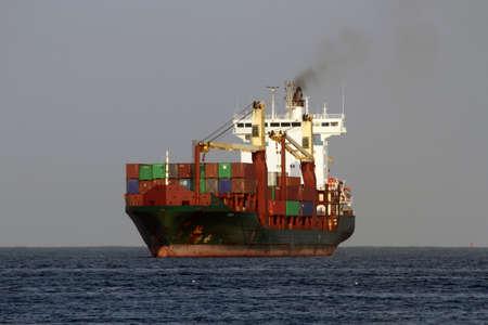 navigating: Huge vessel navigating over the atlantic ocean