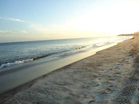 emergence: Beautiful photo in the Ecuadorian beach as the sun begins its emergence. Stock Photo