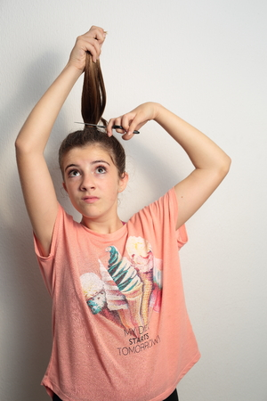 haircut: teenager getting a haircut Stock Photo