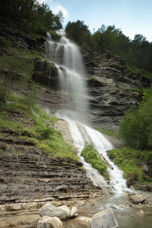 huesca: Sorrosal waterfall in Broto, Huesca, Aragon. Stock Photo