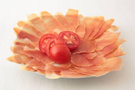 serrano: slice of bread with tomato and serrano ham Stock Photo