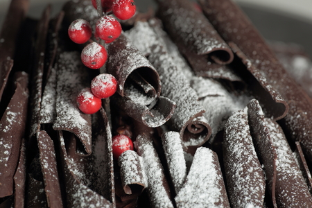 caloric: Decker cake with chocolate frosting