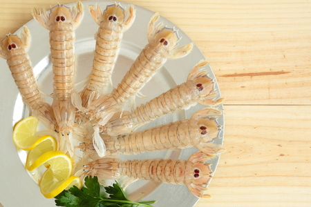 seafood platter: Uncooked seafood platter garnished with lemon and parsley. Stock Photo