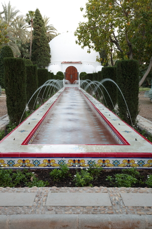 source of water: Source water jets in the Municipal park of Elche, Alicante, Spain Stock Photo