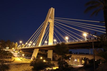 generalitat: Elche, Spain. March 16, 2016: Views of the Bridge of the Generalitat from the side of the Rio Vinalopo in Elche, Spain.