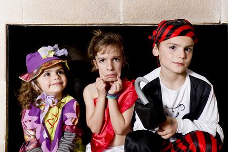 Children dressed as pirates having fun Stock Photo