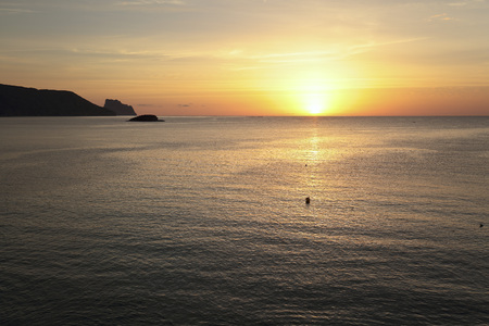 Sunrise in autumn in Altea, Alicante, Spain. Shooting Horizontal Stock Photo