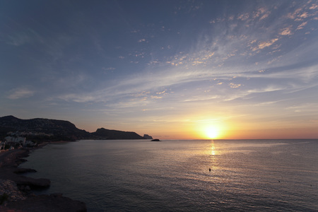 Sunrise in autumn in Altea, Alicante, Spain. Shooting Horizontal Stock Photo