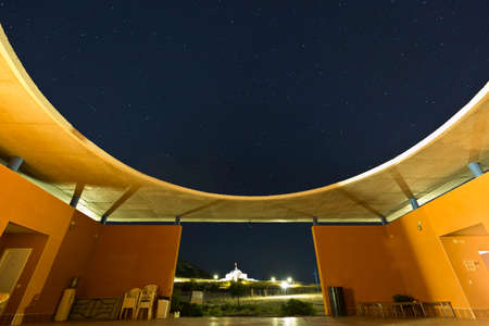 humanismo: Toledo, Spain. October 8, 2016: Toledo Park building at night, Park of study and reflection. They have been built by people who participate in the humanist movement and its agencies. They have been built by people who take part of the humanist movement an