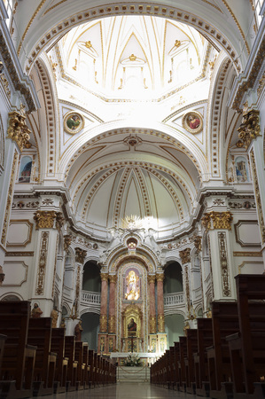church of our lady: Altea, Spain. October 16, 2016: Inside of the church Our Lady of the Conception in Altea, province of Alicante, Spain