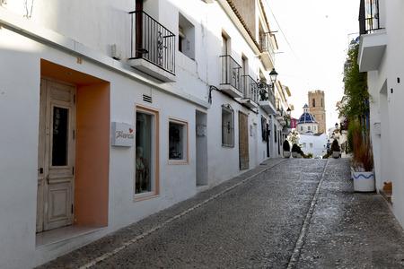 illustrative: Altea, Spain. October 16, 2016: Streets of the village resort of Altea in the province of Alicante, Spain.