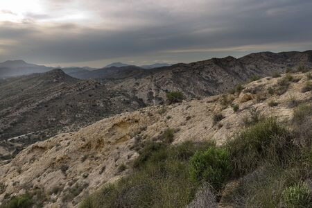 Sunset in the mountains of Elche province of Alicante in Spain. horizontal shot Foto de archivo