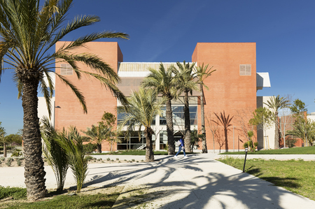 Elche, Spain. March 30, 2017: Building corresponding to the Miguel Hernandez University of Elche, in the province of Alicante, Spain.