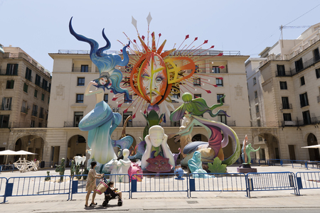 Alicante, Spain. June 20, 2017: Image corresponding to the official bonfire of the town hall square. Artwork by artist Pedro Espadero and his team.Today they finish putting the last details, in the day denominated the plantá. It advances the plant of t Editorial