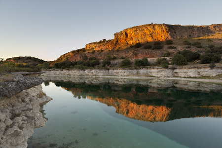 Landscape in the lagoons of Ruidera at sunset. Place of the taking Castilla la Mancha, Spain.