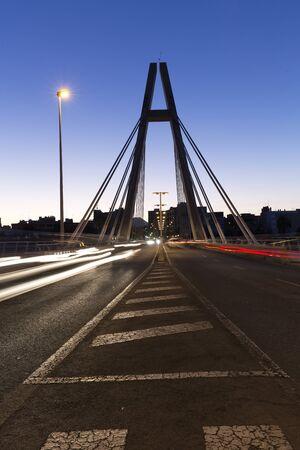 anochecer: Bridge of the Generality in Elche, province of Alicante in Spain.