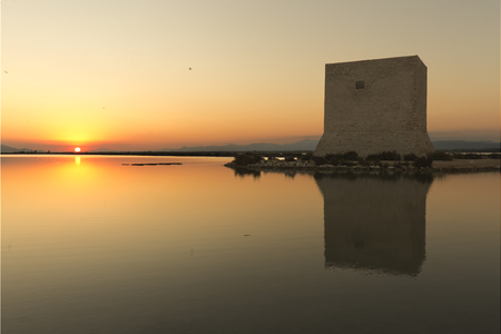 Tower of Tamarit at sunset in the town of Santa Pola, province of Alicante in Spain Banco de Imagens