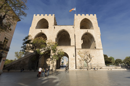 Valencia Spain. October 25, 2017: Towers of Serranos is one of the twelve gates that guarded the old Christian wall of the city of Valencia, Spain. It is of Valencian Gothic style, from the end of the fourteenth century.