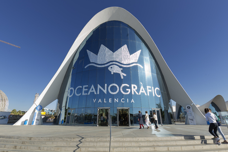 Valencia, Spain. October 25, 2017: Oceanogr?fic of Valencia is the largest aquarium in Europe. Located within the avant-garde architectural complex of the City of Arts and Sciences.