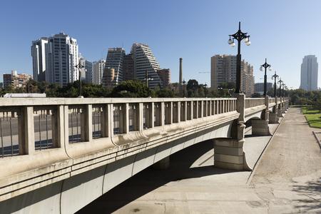 Valencia, Spain. October 25, 2017: The Bridge of Aragon is a pedestrian bridge and vehicle passage through perpendicular Turia channel communicating Zaragoza Square and Paseo de la Alameda.