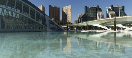 Valencia, Spain. October 25, 2017: Avant-garde architectural complex of the City of Arts and Sciences in Valencia city.