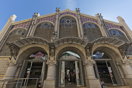 Valencia, Spain. October 25, 2017: The Central Market of the city of Valencia is a construction of Valencian modernist style that began in 1914 by Francescardia i Vial and Alexandre Soler