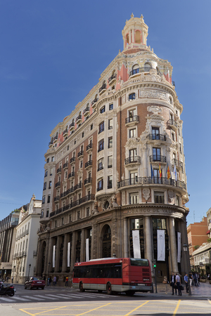 Valencia Spain. October 25, 2017: The old Banck from Valencia building, located at the confluence of Painter Sorolla Street and Don Juan Street in Austria.