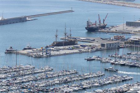 Alicante, Spain October 19, 2017: Views of the port of Alicante from the Castle of Santa Barbara, on the dates that the Volvo Ocean Race took place.