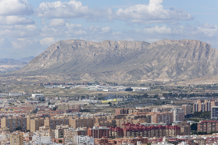Alicante, Spain October 19, 2017: Views of the city of Alicante with the Foncalet mountains in the background.