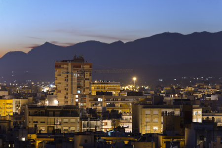 Cityscape of the city of Elche at night. Horizontal Shot Фото со стока