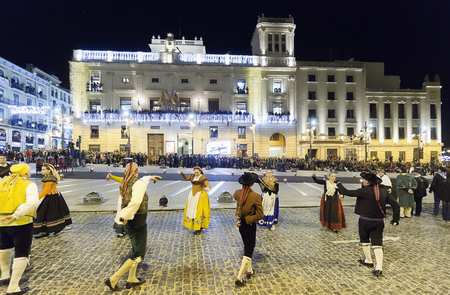 Alcoy, Spain. January 5, 2018: Cabalgata de los Reyes Magos in the city of Alcoy. It is the most anticipated event for children throughout the year. A Festival of National Tourist Interest that brings together hundreds of visitors every year who want to l Sajtókép