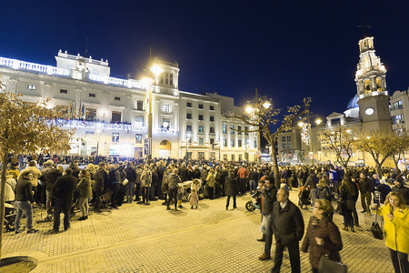 Alcoy, Spain. January 5, 2018: The city of Alcoy prepared to receive its magestades from the Three Kings of the East. In the image, the Plaza de Espa? ? a.The arrival of the Magi to the city of Alcoy, is the most anticipated date for children throughout t