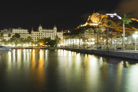 Alicante, Spain: Views of the city of Alicante at night from its port and promenade.