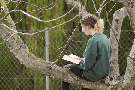 Teen girl reading a book on top of a walnut. Horizontal shot with natural light Stock Photo