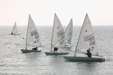 Alicante, Spain. December 1, 2019. Sailing Championship in winter in the city of Alicante, Spain.