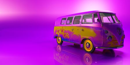 Hippie van on flashy pink background photo