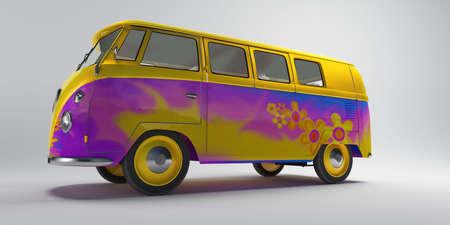 Hippie van on neutral background photo