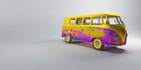 Pink psichedelic hippy van Stock Photo - 1543170