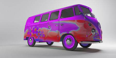 Pink psichedelic hippy van photo