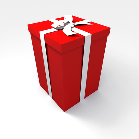 Big red gift box with a white ribbon on a neutral background photo