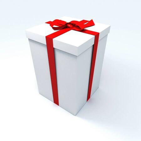 generosidad: Big giftbox blanco con una cinta roja