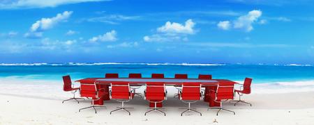 sala de reuniões: Meeting room in a tropical beach Imagens