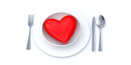 Red heart served on a white plate photo